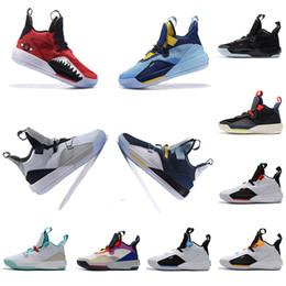 Futuro zapato de baloncesto online-Con la caja Zapatillas de baloncesto para hombre XXXIII PF 33 El futuro de la utilidad de vuelo Blackout Tech Pack 33s Negro Humo oscuro Gris Zapatillas de vela