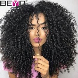 Lace front wigs cabelo bebê para on-line-Beyo Kinky Peruca Encaracolado 360 Rendas Frontal Perucas Pré Arrancadas Com o Cabelo Do Bebê Peruvian Lace Front Perucas de Cabelo Humano 150% Densidade Remy cabelo