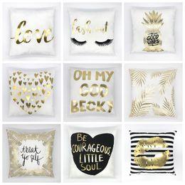 2019 almohadas de oro Bronceado blanco lámina de oro funda de almohada súper suave de terciopelo cojín decorativo almohada decoración para el hogar sofá cojines VT0098 almohadas de oro baratos