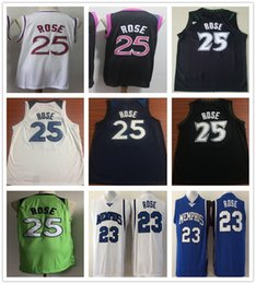 Camisas baratas del color online-Hombres cosidos Derrick Rose Jerseys 2019 Nuevo Púrpura Blanco Negro Azul Blanco Color Baloncesto Derrick 25 Rose Jersey Camisetas universitarias baratas