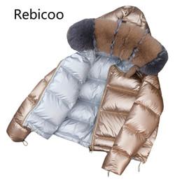 Fuchspelz kapuzenjacke online-Marke Winter Frauen Fox großen Pelzkragen Jacke Korea unten Baumwolle lose dicke kurze Oberbekleidung Parkas weibliche Kapuzenmäntel