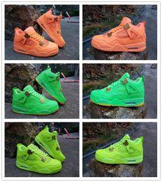 Zapatillas de baloncesto verde lima online-2019 Nueva llegada 4 Lime Green orange hombres zapatos de baloncesto al aire libre para hombre entrenadores de diseño con tamaño de caja 8-13