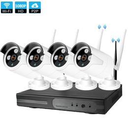 Sistema di sorveglianza di sicurezza della fotocamera esterna wireless online-Sistema di telecamere di sorveglianza 4CH CCTV Wireless 1080P NVR 4PCS 2.0MP IR Outdoor P2P Wifi IP CCTV Sistema di sorveglianza Kit