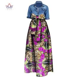 falda lápiz mujer raso Rebajas 2019 Mujer falda maxi larga para la Mujer de Dashiki africana para las mujeres Bazin Riche túnica fatal longue más el tamaño de la falda de WY1036 naturales