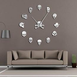 arte horror Sconti Cranio teste fai da te orologi da parete horror art design acrilico grande orologio da parete grande ago teste di zombie frameless grande orologio di halloween decor