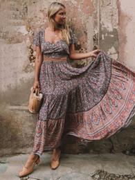 02e00e5bb 2019 ropa hippie bohemia Boho Chic Maxi Falda Verano de Las Mujeres de  Cintura Alta Elástica