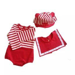 Argentina Chirstmas Infant kids mameluco baby girls stripe monos de manga larga + toalla de saliva cuadrada 2pcs sets 2019 otoño nueva ropa de bebé F8603 Suministro