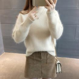 шерстяные свитера женщины плюс Скидка Женщины зимний свитер шерсть мохер бархат флис мягкий плюс размер эластичность повседневная толстый пуловер теплый свободный кашемир