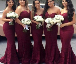 wedding dress flowered train Promo Codes - Elegant Burgundy Sweetheart Lace Mermaid Cheap Long Bridesmaid Dresses 2019 Wine Maid of Honor Wedding Guest Dress Prom Party Gowns