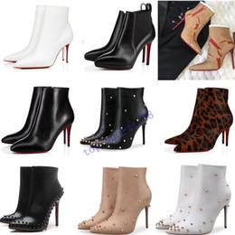2019 botas de aço azul hot [Box Original] Womens altos New Sexy Heels 100mm botas de camurça Bota parte inferior vermelha de couro do tornozelo Inverno real Bombas Paris Botas Tamanho 35-41