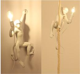 Weinlese italienischer kronleuchter online-Italian Style Affe Lampe Tischleuchten Leuchte Industrielle Beleuchtung Hanf-Seil-Weinlese-Leuchter Lampadario Moderno Befestigungen