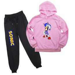 Terno sônico on-line-Meninos Meninas Crianças Hoodies Sonic The Hedgehog camisola terno de calças moleton manga comprida 2pcs Set Roupa Para 2-14T