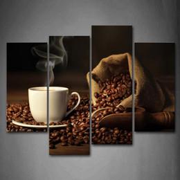 kaffee leinwand bild Rabatt 4 Platten Ungerahmt Wandkunst Bilder Kaffee Kaffeebohne Leinwanddruck Moderne Poster Keine Rahmen Für Wohnzimmer Dekor