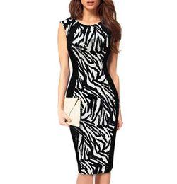 1e5045d7fe86 Signore sexy senza maniche Leopard abiti da ufficio formale per le donne  Bodycon Stretch Knee Work Wear Pencil Dress Plus Size LYP