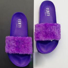 Pele de estrela on-line-Rihanna x Leadcat Fenty Chinelos Mulheres Sapatos de grife sandálias Meninas Moda Scuffs Rosa Preto Cinza Fur red Slides Estrela SWith EUR36-41