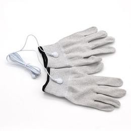 Électrode de massage masseur en Ligne-Nouveaux gants électrodes conductrices Body Relax Massager Réutilisation Gants de massage de physiothérapie Gants de massage en fibre d'argent Acupuncture