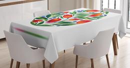 2019 toalha de crochet quadrada Toalha de mesa de flores em aquarela Ovo de Páscoa Tulipa Flores Pintar Estilo Retro Cor Pastel Sala de Jantar Tampa de Mesa de Cozinha