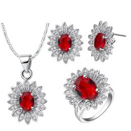 Anéis de flor de jade on-line-Colar de pingente de Brincos anel 925 ternos de prata terno europeu e popular flor do sol terno para as mulheres sterling-silver-grade