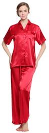 Conjunto de pijama de satén de seda Lavenderi para mujer, ropa de dormir de manga corta desde fabricantes