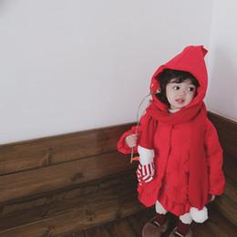 Seni graziosi online-Neonate Inverno Nuovo Sweet And Lovely caldo spessa monopetto in pizzo cappotti bambini colore puro cappotto abbigliamento per bambini
