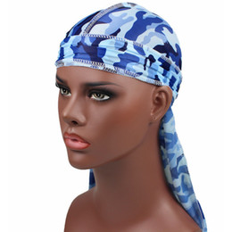 wholesale pirate skull caps Promo Codes - Novelty Bandana Turban Caps Men Women Unisex Camo Printed Hat Camouflage Long Tail Headwear Pirate Hats Accessories Chemo Cap