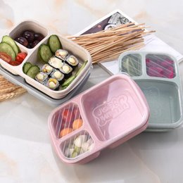 box lunch packaging Coupons - Student Lunch Box 3 grid Wheat Straw Biodegradable Microwave Bento Box kids Food Storage Box school food containers with lid LX7292