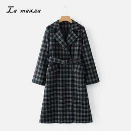 2020 línea de estilo de moda de oficina Abrigo de invierno para mujer 2018 Abrigo de lana elegante Cálido largo a cuadros Estilo coreano Oficina Moda Sexy Streetwear rebajas línea de estilo de moda de oficina