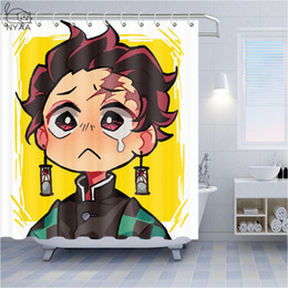 Demon Slayer Anime Art Waterproof Shower Curtain Bath Wall Hangings Decor Hooks