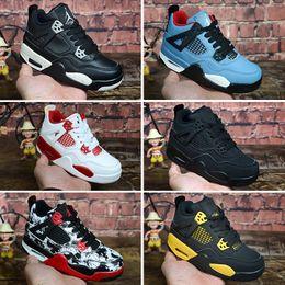 rosa 89 Sconti Nike air jordan 4 retro Kids 4 Bred Cactus Jack Pure Money Scarpe da basket 4s Bambini Boy Girls Rosa Bianco Alternate 89 Black Cat Sneakers taglia 28-35