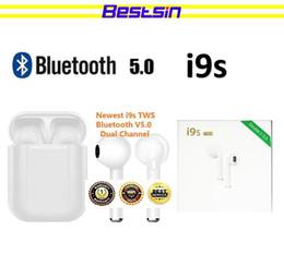2019 écouteurs bluetooth i9s TWS Dual Earphone Bluetooth 5.0 Headset Casque sans fil avec musique mains libres Stéréo QI-Enabled avec boîtier de chargement TWS Bestsin écouteurs bluetooth pas cher