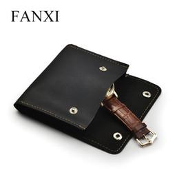 2019 supporto in pelle Collana Pouch Pouch braccialetto di vigilanza di monili di cuoio FANXI nuovo nero sacchetto di immagazzinaggio per regalo dei monili Travel Packaging Bag sconti supporto in pelle