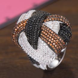 дубай кольцо Скидка GODKI Famous Monaco Design  Big Winding Cross Geometry Cubic Ziron CZ Ring For Women Wedding Dubai Bridal Finger Ring 2019