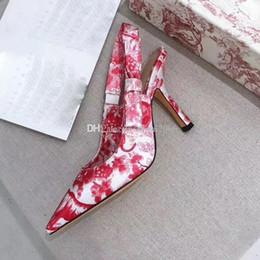 Sandalia de tacón azul marino online-2019 nueva moda azul marino flor gato zapatos mujer sandalias mujer diseñador sandalias Diseñador sandalias Bow Pentagram signo 6,5 CM talón con caja