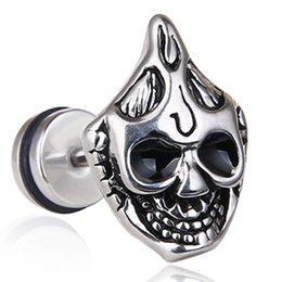ghost earrings Coupons - Retro Skull Punk Hip Hop Ear Cartilage Earrings Halloween Plug Earrings Ghost Head Titanium Steel Gauge Personality Jewelry