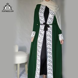 Vestidos casuales turcos online-TOPMELON Malasia Abierto Abaya turco Ropa Islámica Mujeres Encaje Empalme túnica hijab Vestido Casual Negro Verde Rojo Azul marino Abaya