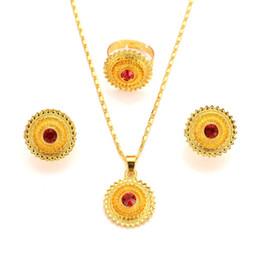 Bangrui etiope Set monili del pendente / orecchini / anello di colore dell'oro Africa sposa sposa l'Eritrea festa di compleanno regalo da