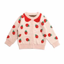 Jaqueta rosa de outono meninas on-line-Outono e inverno nova menina rosa princesa casaco de malha feminino bebê algodão pequeno cardigan morango camisola