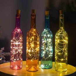 cableado de escritorio Rebajas Tapón de corcho en forma de tapón de luz lámpara de botella de vino de cristal 2 M 20 LED luces de la secuencia del alambre de cobre del partido de la boda decoración del hogar regalo BC BH0944