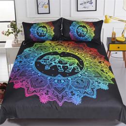 trapunte di elefante Sconti Mandala Elephant copripiumino Con federa dorato nero Federa Queen Size Bed Boho Set Quilt Cover