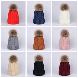 wool skull caps Promo Codes - Winter Women Twist Knitted Hat Warm Pom Pom big Fur ball Wool Hat Ladies Skull Beanie Solid Crochet Ski Outdoor Caps LJJA2949