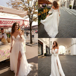 Sexy Beach Abiti da sposa 2019 Sweetheart pizzo Bohemian Wedding Dress con maniche staccabili Side Split Boho Abiti da sposa Custom da