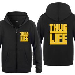 Hombres sudadera con capucha Thug Life Tupac 2PAC sudaderas con capucha de  los hombres de lana de manga larga con cremallera chaqueta Escudo Sudadera  Hip ... 893286f7fbf
