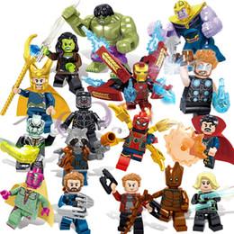 Figuras de hierro online-16 piezas Avengers 3 Infinity War Super Hero Iron Man Hulk Rocket Thor Thanos Black Panther Spider Man Groot Building Block Toy Figure Brick