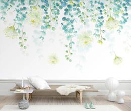 Fondo de pantalla de hojas verdes online-Nordic Mural Green Tree Leaf Wallpaper Luxury 3d para sala de estar Dormitorio 3d Murales de pared Hojas Papeles de pared Decoración para el hogar Personalizado