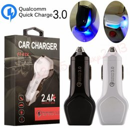 chargeur de téléphone lumière bleue Promotion Blue Led light QC 3.0 Chargeur rapide de voiture 2.4A Adaptateur secteur pour iphone samsung s7 s8 s9 s9 android téléphone gps mp3 avec boîte de vente au détail