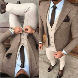 trousers pant image Promo Codes - New Handsome Winter Tweed Fabric Man Business Suits Beige Groom Tuxedos Men Prom Party Coat Trousers Sets (Jacket+Vest+Pants+Tie) 690