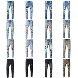 graffiti coating Promo Codes - Brand Men Long Jeans Kanye West Graffiti Trousers Ripped Board Slim Jean Pocket Nightclub Holes Casual Mens Designer Jeans New