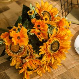 Argentina flores artificiales de girasol ramo salón de decoración del hogar de seda de flores habitación decoración de la boda plantas artificiales 4 colores Suministro