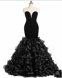 2019 image réelle velours sirène robe de bal noire sans bretelles à volants chérie cou soirée robes de soirée du bal meilleure vente ? partir de fabricateur