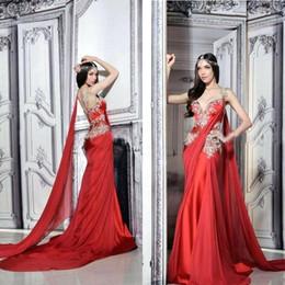 vestido indio sin espalda sexy Rebajas Dubai Red Kaftan Noble vestidos de noche con apliques árabe indio de gasa fluida formal vestidos de baile con cinta Sexy Backless vestido de noche